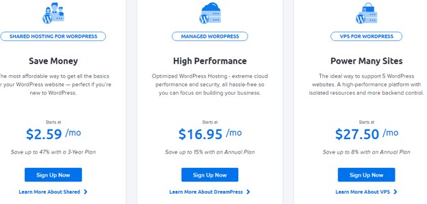 Dreamhosting pricing of their three plans