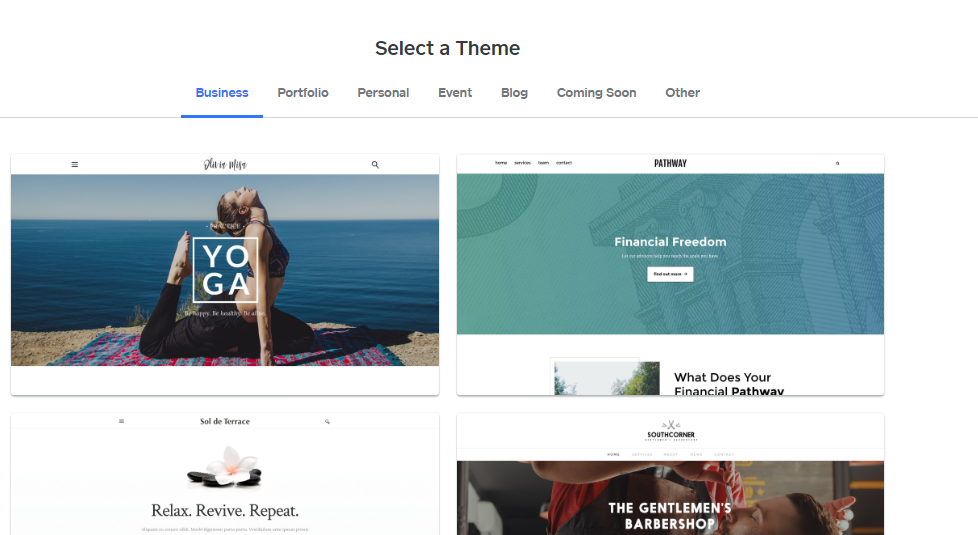 Weebly site builder select theme